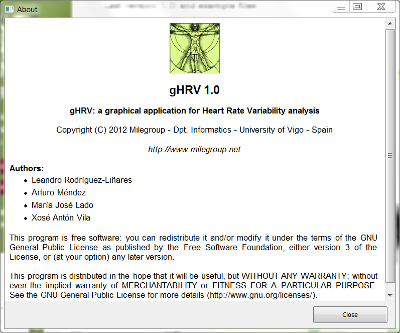 gHRV: graphical tool for HRV analysis